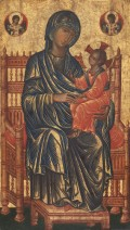 "Certain aspects of technique suggest that the artist who painted this panel was a Greek, trained as an icon painter. However, its blend of Byzantine and Western elements indicates that he was probably working in Italy or, at least, for a Western patron. The delicate gold striations defining the folds of cloth are a Byzantine convention, and the composition itself is closely modeled on one of the most enduring icon types, the Hodegetria—the Virgin who, by indicating the Child, ""shows the way."" Yet Jesus gives the Western, not Eastern, sign of blessing, and the halos are not the plain burnished disks found in Byzantium but are decorated with the floral patterns popular in Italy. The three-dimensional view of the Virgin's throne may also reflect Western influence. With her red shoes and the archangels' imperial regalia, the elaborate throne underscores Mary's role as queen of Heaven. Byzantine 13th Century, Enthroned Madonna and Child, 13th century, tempera on panel, Gift of Mrs. Otto H. Kahn,"